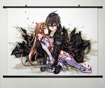 Home Decor Anime Sword Art Online Cosplay Wall Scroll Poster Kirito & Asuna -013