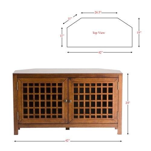SEI Narita Walnut Corner Media Stand with Windowpane-Style Doors