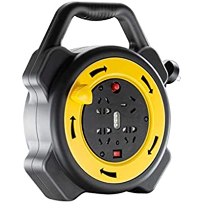 LIFEIYAN Cable Reel 10m Meter Way Gang Mains Extension Lead Reel Approved HEAVY DUTY Thermal Cut Out 10A  Ideal For Garden  Workshop  DIY Etc  extension cord holder