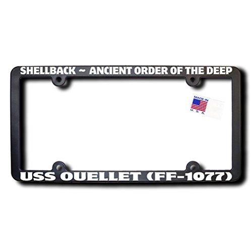 Shellback USS OUELLET (FF-1077) License Frame w/Reflective Text -  James E. Reid Design, SBFFR-079
