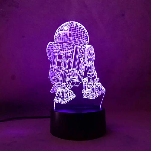 Star Wars R2D2 Warship 3D Lava Night Light Touch 7 Colour Gradient Light Rocket Modern Bedroom Table Home Party Decoration Lamp(R2D2)