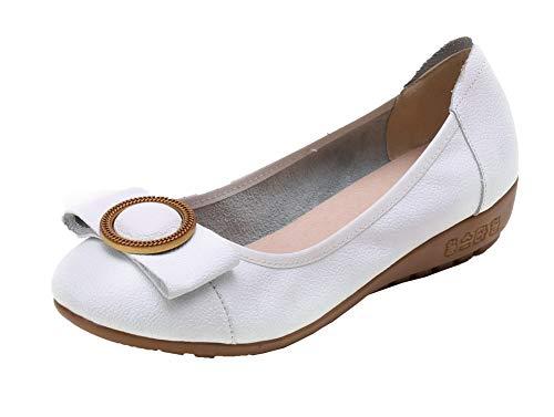 Basso Ballet Donna Chiusa GMMDA010982 Punta AgooLar Puro Bianco Tirare Tacco Flats q0w76FXH