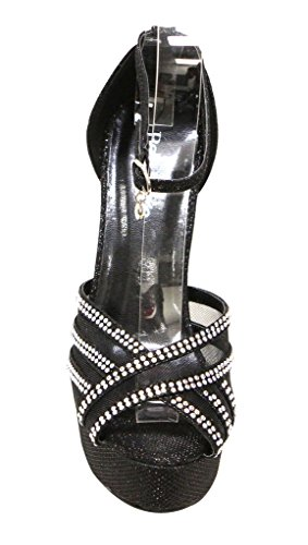 Bella Marie Womens Helena-23 Ankle Strap Platform Peep Toe Glitter Beads Party Dress Heels Sandal Black H6nENAJjyg