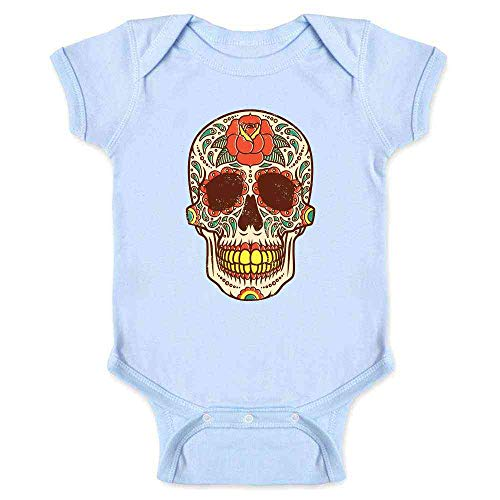 Rose Sugar Skull Halloween Costume Vintage Horror Light Blue 24M Infant Bodysuit]()