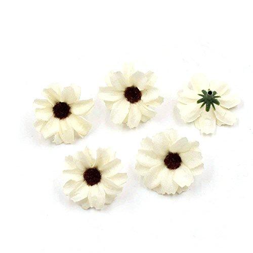 Mini Lei (FLOWER 50pcs 4cm Head Multicolor mini fresh Handmade silk Head Artificial Small Chrysanthemum DIY wedding decoration (milk white))