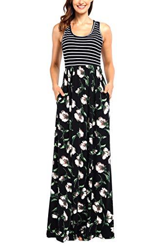Comila Womens Summer Contrast Sleeveless Striped Flowy Floral Tank Maxi Dress
