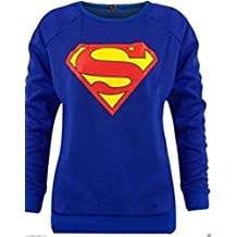 Fashion Essentials-New Women Superman Superwoman Print Sweatshirt Jumper Top