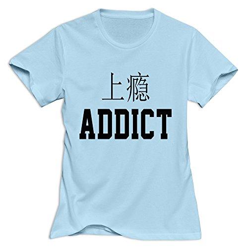 JJTD Women's ADDICT T-Shirt SkyBlue US Size L Addict Womens T-shirt