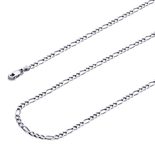 Wellingsale 14k White Gold SOLID 2.5mm Polished Figaro 3+1 Concave Chain Bracelet - - Bracelet Figaro Concave 7