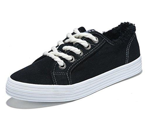 SHFANG Zapatos De Señora Zapatos Gruesos De Fondo Bajo Plano Zapatos Confort Cómodo Movimiento Estudiantes Escuela Cuatro colores Black