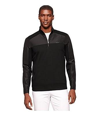 Calvin Klein Men's Long Sleeve Mix Media 1/4 Zip Interlock Sweatshirt