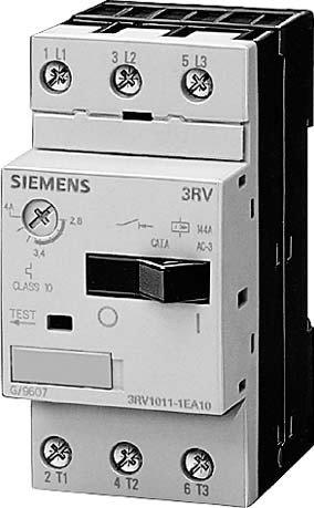 Adjustment Motor (Siemens 3RV1011-1DA10 Motor Starter Protector, Screw Connection, 3RV101 Frame Size, 2.2-3.2 FLA Adjustment Range, 42A Instantaneous Short Circuit Release, 65kA UL Short Circuit Breaking Capacity at 480V)
