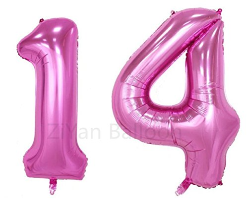 ZIYAN 40inch Pink Number 14 Balloon Party Festival Decorations Birthday Anniversary Jumbo foil Helium Balloons Party Supplies use Them as Props for Photos]()