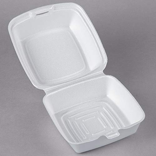 White Hinged Lid - Dart 60HT1, 6x6x3-Inch Performer White Rectangular Sandwich Foam Container With A Hinged Lid, Carryout Food Disposable Snack Containers (50)