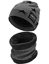 VBIGER Kids Winter Hat and Scarf Set Warm Knit Beanie Cap and Circle Scarf with Fleece Lining for Children Boys Girls, 2-Pieces (X-Dark Grey)