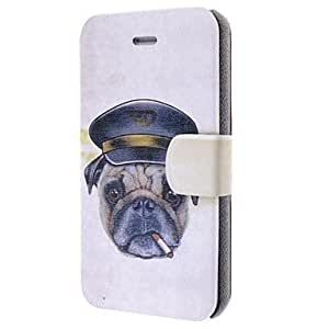 SOL Good Quality Smoking Dog Pattern Leather Full Body Case with Card Slot for iPhone 4/4S