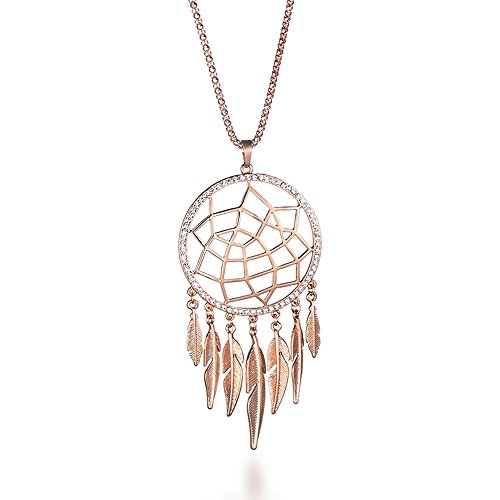 Hope Rhinestone Necklace - Fashion Necklace for Women, Dreamcatcher Pendant Necklace with Feather Girls Long Chain Necklace Shining Rhinestone Necklace (Rose Gold)