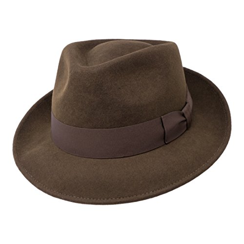 B&S Premium Doyle - Teardrop Fedora Hat - 100% Wool Felt - Crushable for Travel - Water Resistant - Unisex - Dark Brown 56