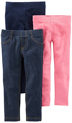 Girls Pink Denim (Simple Joys by Carter's Girls' Toddler 3-Pack Leggings, Navy/Pink/Denim, 2T)