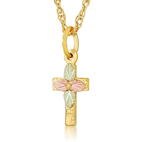 Landstroms 10k Black Hills Gold Cross Pendant Necklace, 12K Gold Leaves ()
