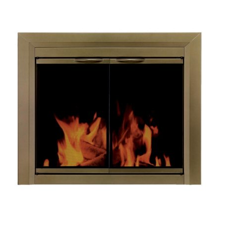 Pleasant Hearth CA-3202 Cahill Fireplace Glass Door, Antique Brass, Large by Pleasant Hearth