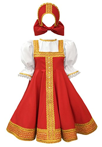 Russsian dress traditional dance costume red sarafan folk clothing