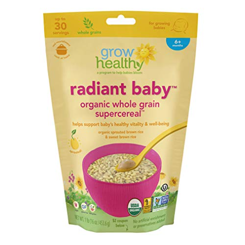 Radiant Baby Organic Whole Grain Supercereal |Ideal first transitional food for babies | Sprouted, Organic, Vegan, Gluten free, USA grown, No artificial enrichment or preservatives (Best Cereal For Iron)