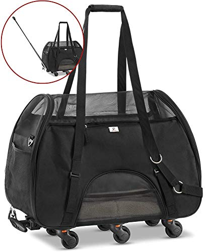 WPS Pet Carrier with Wheels for Small Dogs and Cats - Removable Fleece Bed, Soft Sided, Mesh Windows, Leash Clip, Handle, Carrying Strap - Bone Design - 11