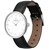 Nordgreen Unisex Infinity Scandinavian Analog Watch in Silver 32mm (Small) with Black Leather Strap 10048