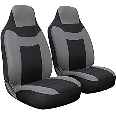 Motorup America Auto Seat Cover Set - Integrated Bucket Seat - Mesh Covers Fits Select Vehicles Car Truck Van SUV - Newly Designed - Gray & Black
