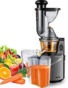 Juicer Machine Extractor with Slow Cold Press Masticating Squeezer Mechanism Technology, 3 inch Chute accepts Whole Fruits and Vegetables, Easy Clean by Mueller Austria
