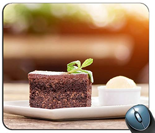 (Dessert one Slice Chocolate Cake Mint Personalized Rectangle Mouse Pad Mouse Mat)