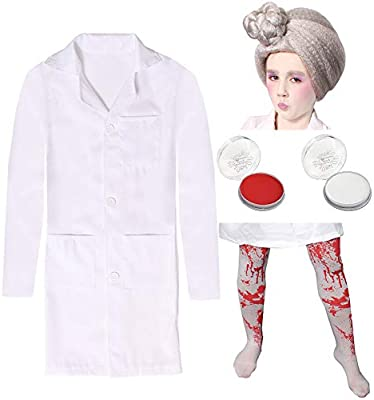 EVIL DENTIST COSTUME LAB COAT WIG FACE PAINT TIGHTS WORLD BOOK DAY FANCY DRESS
