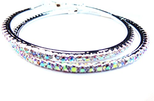 Crystal Iridescent Silver Tone Rhinestone Hoop Earrings 3 inch Hoop Earrings