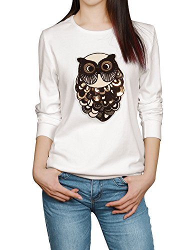 Allegra K Lady Sequin Decor Owl Applique Long Sleeves Casual Sweatshirt White L