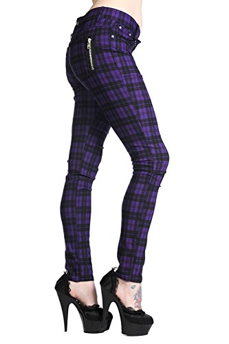 5a209dd62369 New Women s Banned Plaid Tartan Emo Punk Skinny Trousers Size 26-40 (34  Waist