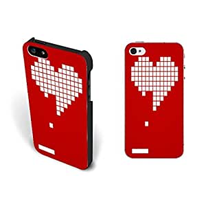 Simple Vogue Missing Heart Geometric Iphone 5 Case Cover Cute Love Red Custom Design Hard Plastic Iphone 5s Case Skin for Girls