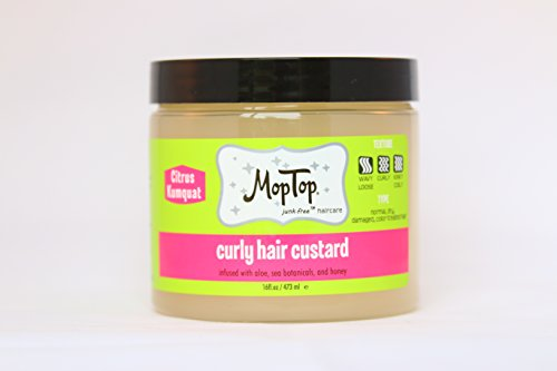 16oz, MopTop Curly Hair Custard Gel for Fine, Thick, Wavy, Curly & Kinky-Coily Natural hair, Anti Frizz Curl Moisturizer, Definer & Lightweight Curl Activator w/Aloe, great for Dry - Frizz Activator Anti