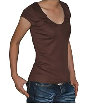 Calvin Klein CK Jeans Womens Brown cotton Jersey short sleeve t shirt blouse (M)