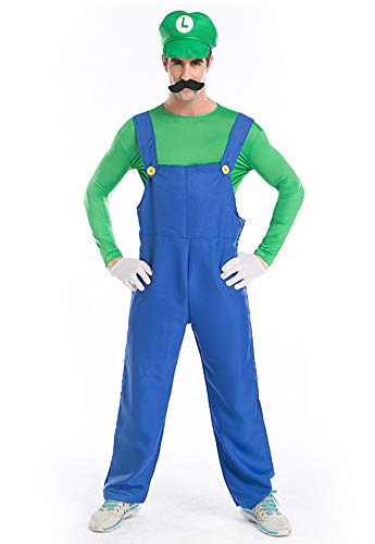 Tutu Dreams Men Mario and Luigi Costume Outfits Halloween Party Performance Plus Size (Large, Green) -