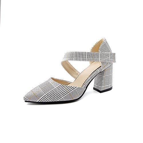 CXQ-Heels QIN&X Frauen Spitzen Zehe Flachen Mund Prom Block High Heels Schuhe Pumps Yellow