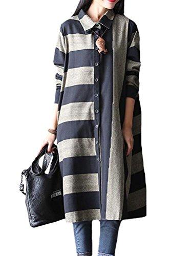 Femme Robe Col Button Linen Striped Chemisier Polo Devant Noir Vogstyle Printemps SwWq1gFq