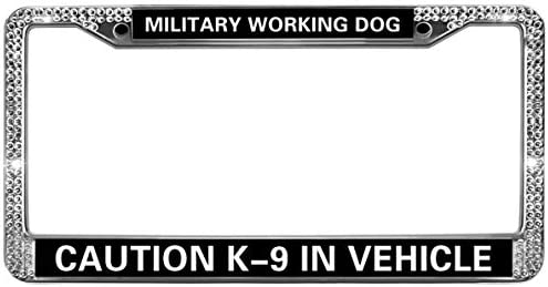 MILITARY WORKING DOG CAUTION K-9 IN VEHICLE Chrome Metal License Plate Frame