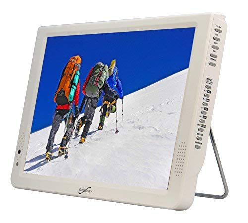 Supersonic SC-2812 12'' Portable Lightweight LED TV w/Built in Batt,USB/SD input (White) by Supersonic