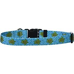 """Yellow Dog Design Sea Turtles Dog Collar with Tag-A-Long ID Tag System-Medium-1"""" and fits Neck 14 to 20"""""""