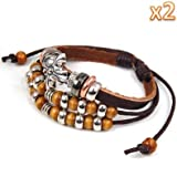 niceEshop(TM) 2 PCS x Bohemian Palace Vintage Style Cross Sideways Beads Leather Bracelet Adjustable Wirstaband-Brown