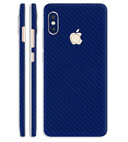 separation shoes 5d720 6a2aa SILKWRAPS Mobile Wrap Compatible with Xiaomi Mi Redmi Note 5 Pro Apple Logo  Cut iPhone X Style Dark Blue Carbon -Skin for Back Only