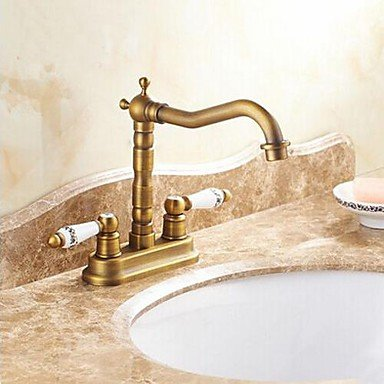 LYYS Bathroom Sink Faucet Antique 4 Inch Centerset Two Handles Chrome Bathroom Sink Faucet