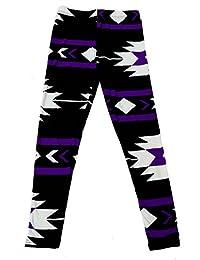 Girl's American Indian Aztec and Stripe Pattern Print Leggings