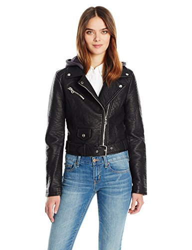 9d0095ccc Members Only Women's Cropped Moto Jacket W Hood at Amazon Women's ...